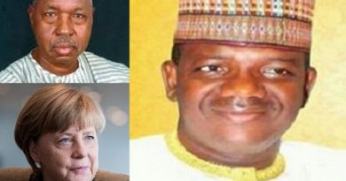 German Chancellor, Angela Merkel (bottom left), Katsina State governor, Aminu Bello Masari (top left) and Zamfara State governor, Bello Matawalle.